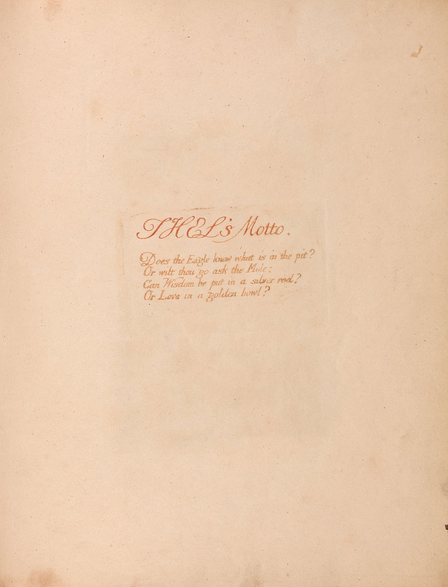 The Book of Thel, Plate 1, Thels Motto. . . . door William Blake