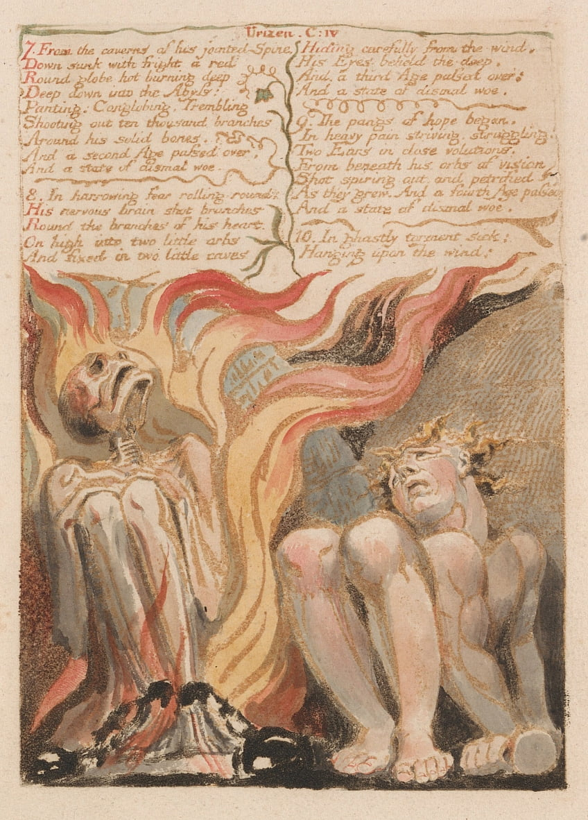 The First Book of Urizen, Plate 14, 7. From the Caverns of His Jointed Spine .... (Bentley 11) door William Blake