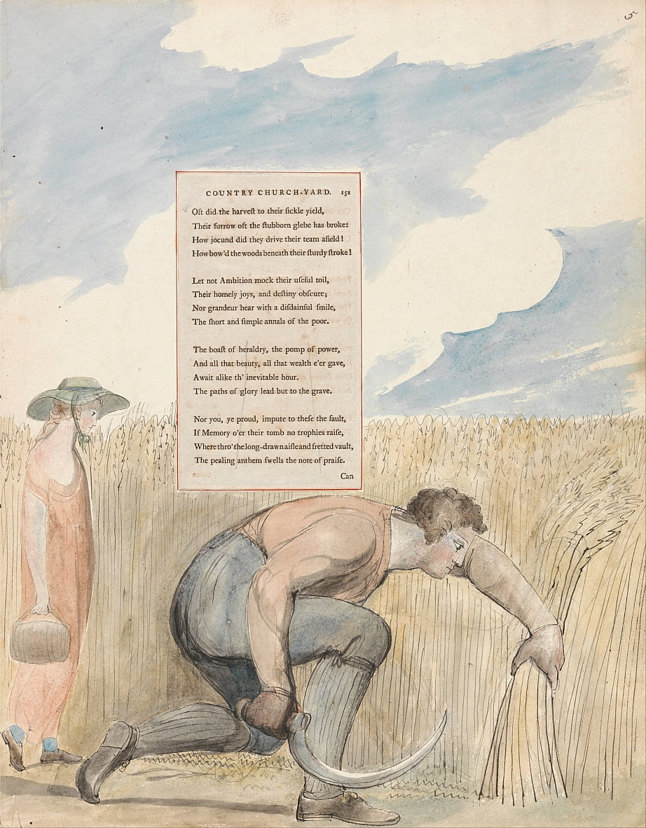 The Poems of Thomas Gray, Design 109, Elegy Geschreven in een landelijke kerkwerf. door William Blake