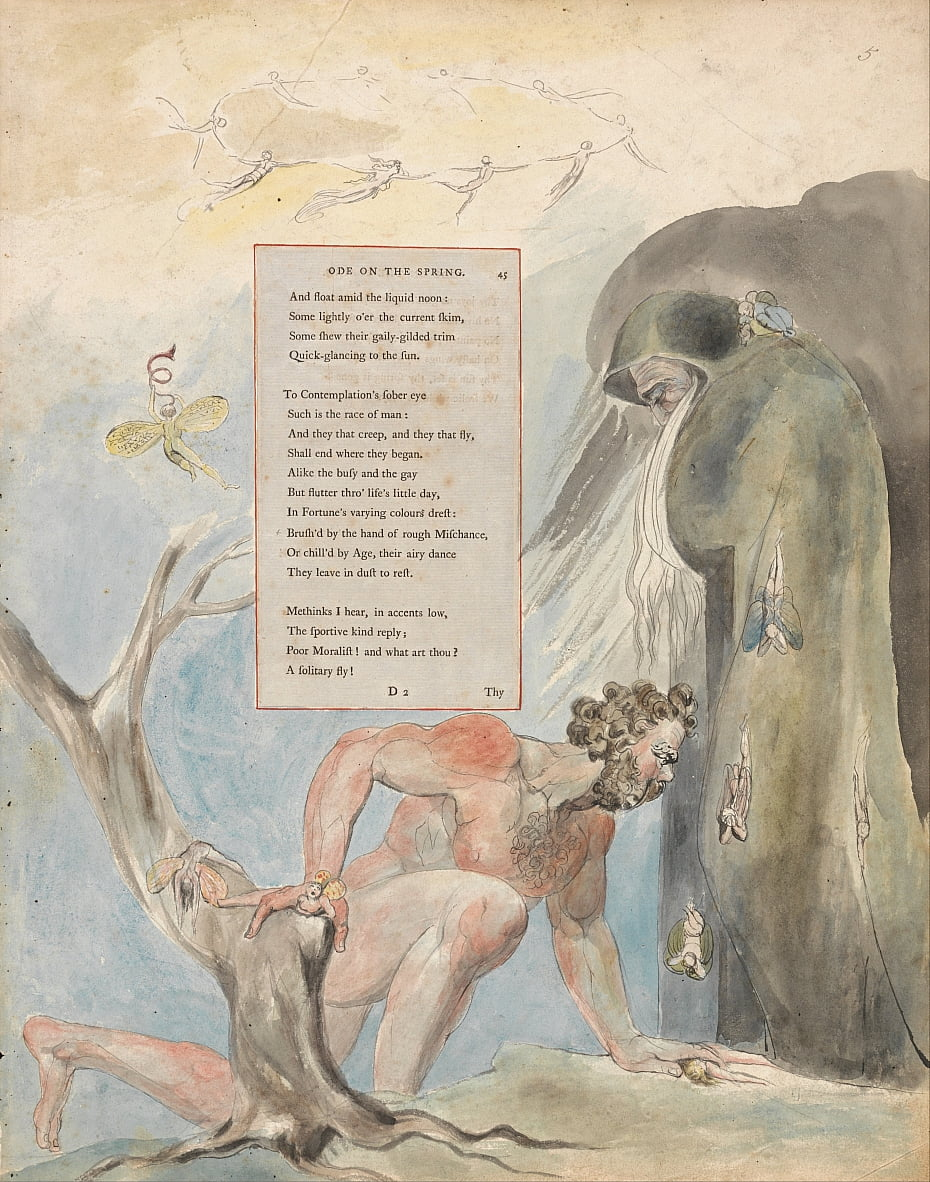 The Poems of Thomas Gray, Design 5, Ode on the Spring. door William Blake