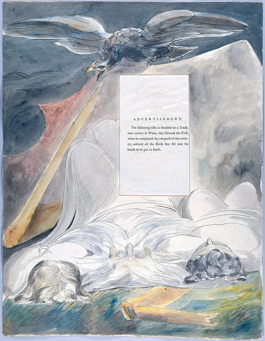 The Poems of Thomas Gray, Design 54 The Bard 02 door William Blake