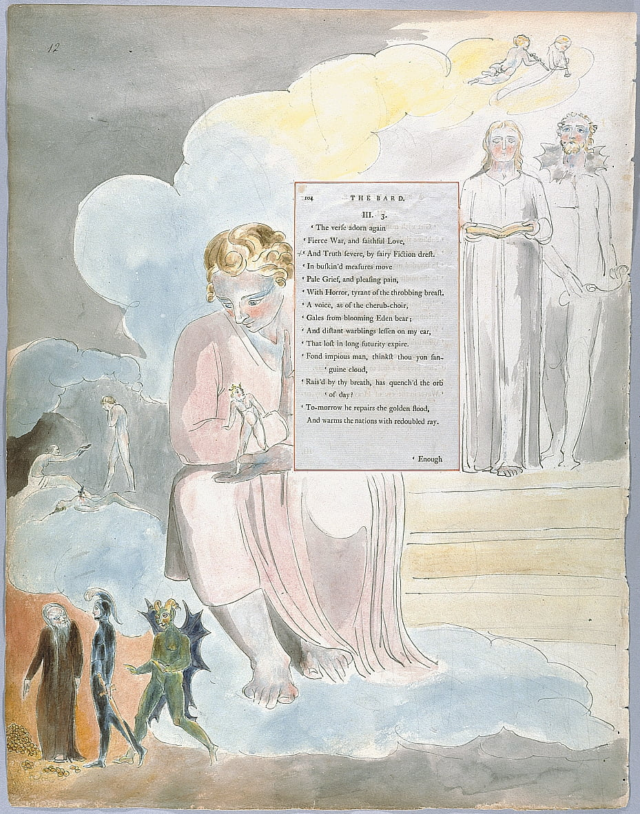The Poems of Thomas Gray, Design 64 The Bard 12 door William Blake