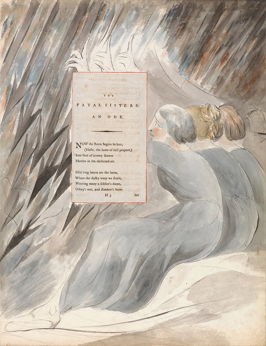 The Poems of Thomas Gray, Design 71, The Fatal Sisters. door William Blake