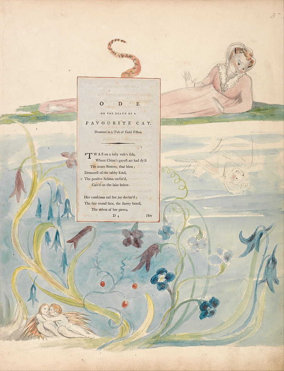 The Poems of Thomas Gray, Design 9, Ode on the Death of a Favourite Cat. door William Blake