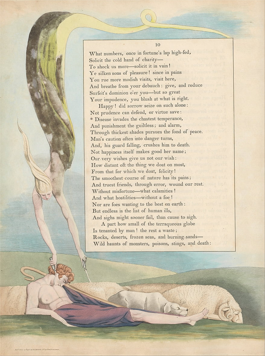 Youngs Night Thoughts, Pagina 10, Diseases Invades the Chastest Temperence door William Blake