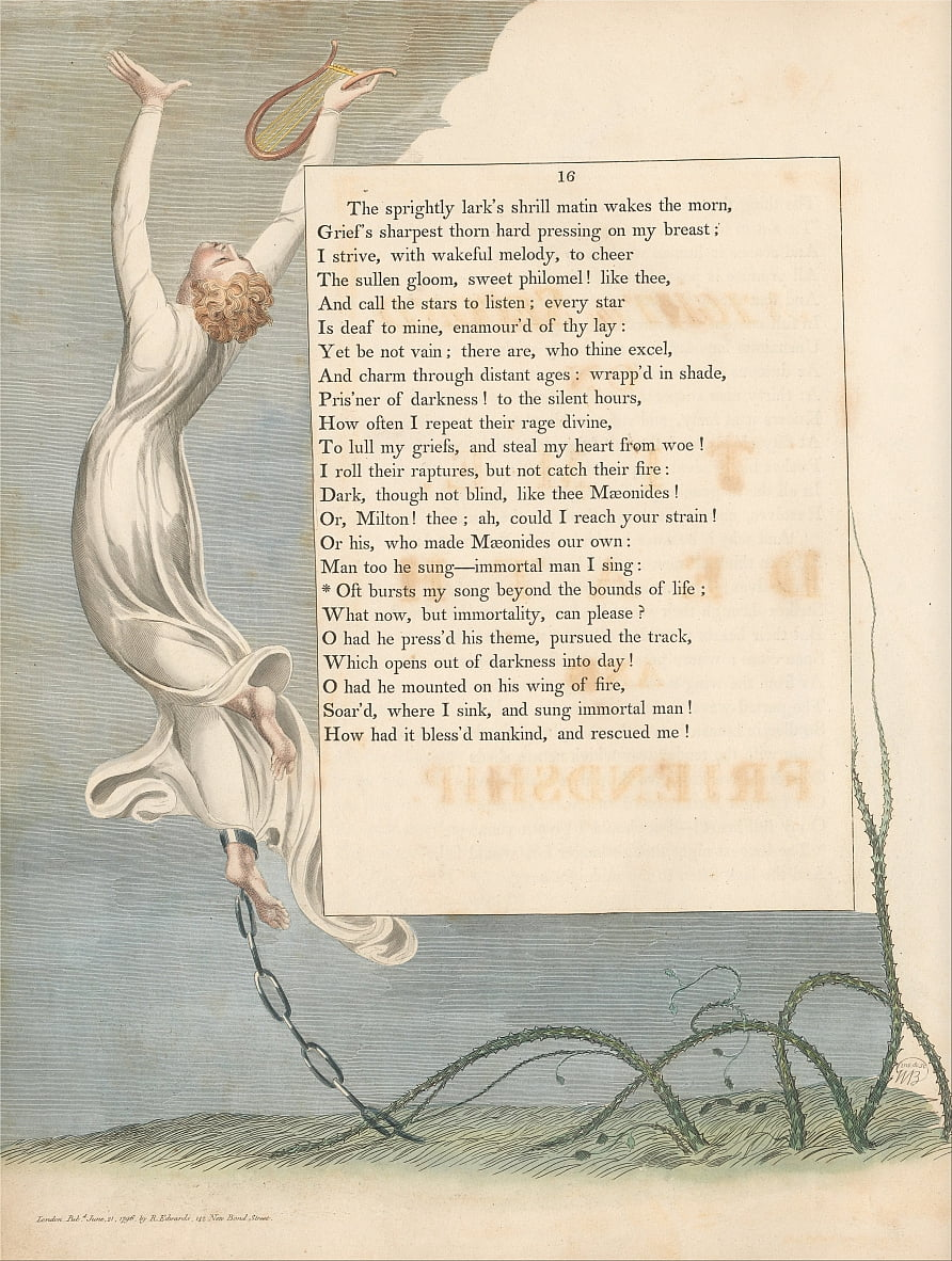 Youngs Night Thoughts, Pagina 16, Oft Barst Mijn lied voorbij de grenzen van het leven door William Blake