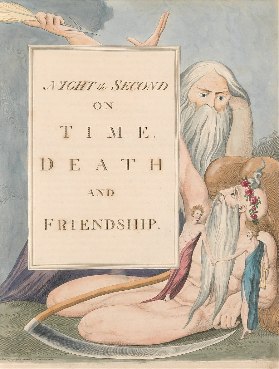 Youngs Night Thoughts, pagina 17, Night the Second, on Time, Death and Friendship door William Blake