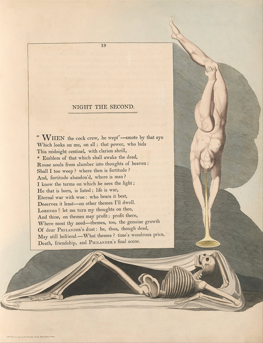 Youngs Night Thoughts, pagina 19, embleem van dat wat de doden zal doen ontwaken door William Blake