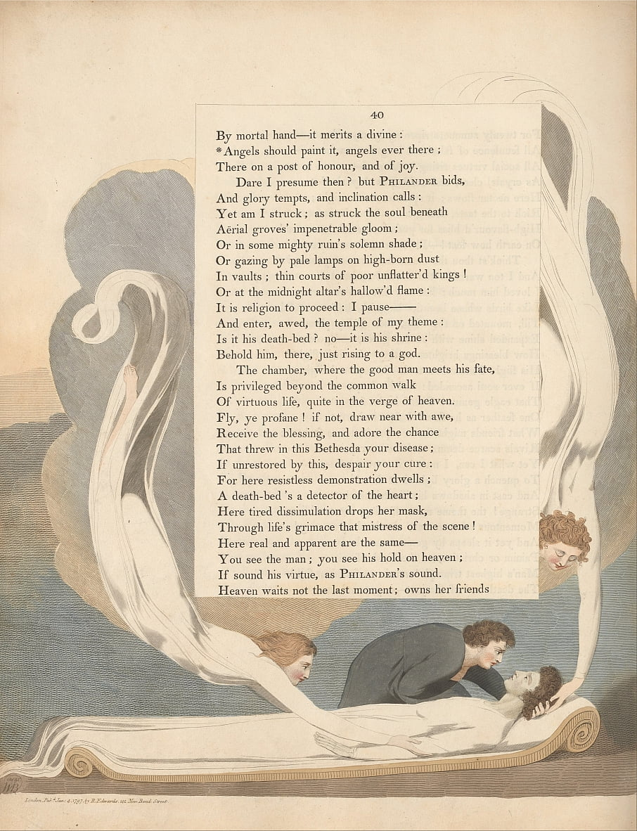 Youngs Night Thoughts, pagina 40, Angels Should Paint It, Angels Ever There door William Blake