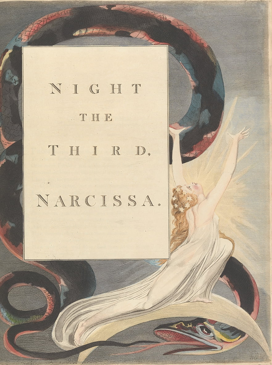 Youngs Night Thoughts, pagina 43, Night the Third, Narcissa. door William Blake