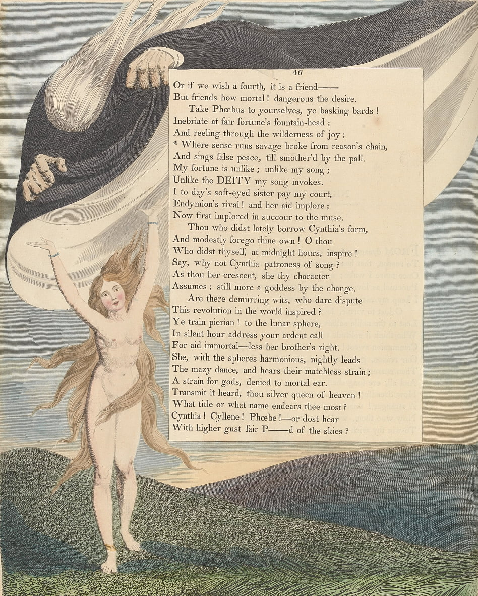 Youngs Night Thoughts, Pagina 46, Where sense went savage brak van reasons chain door William Blake