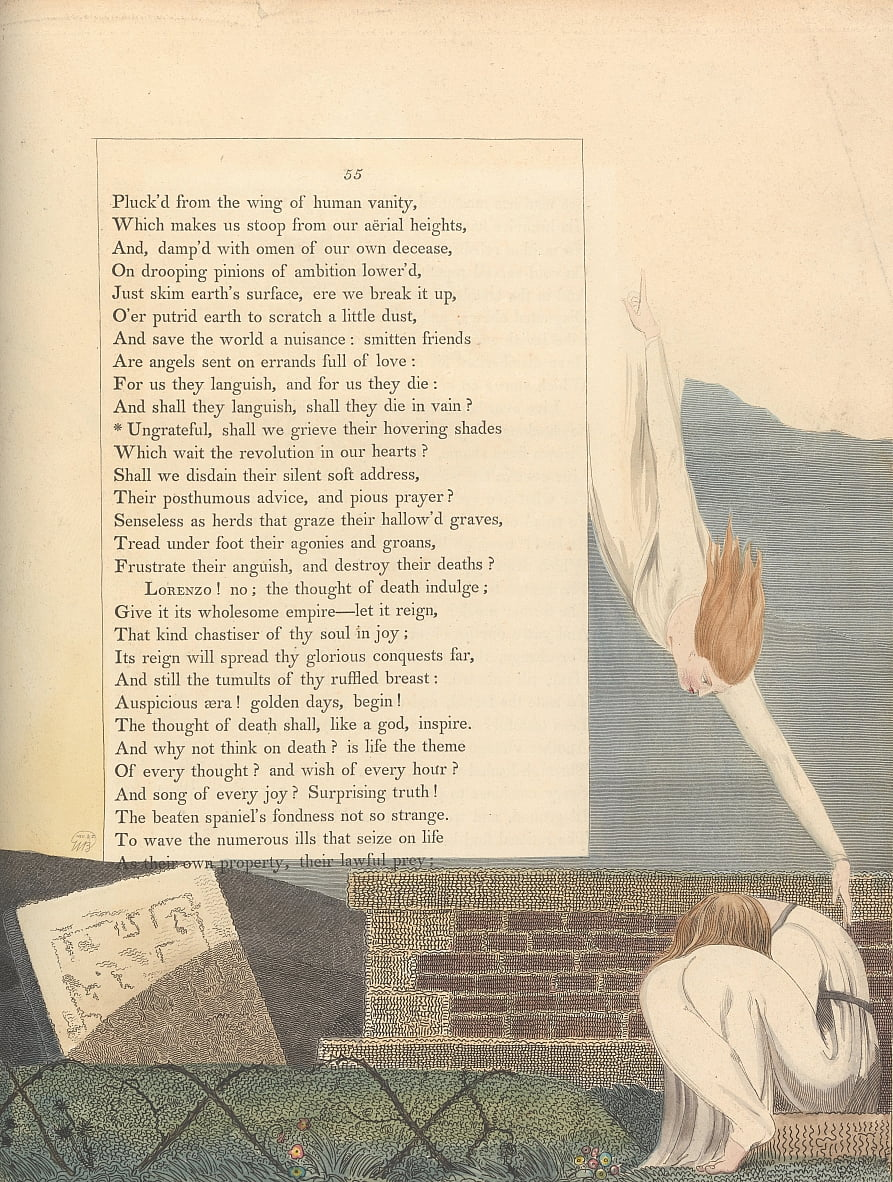 Youngs Night Thoughts, pagina 55, door William Blake