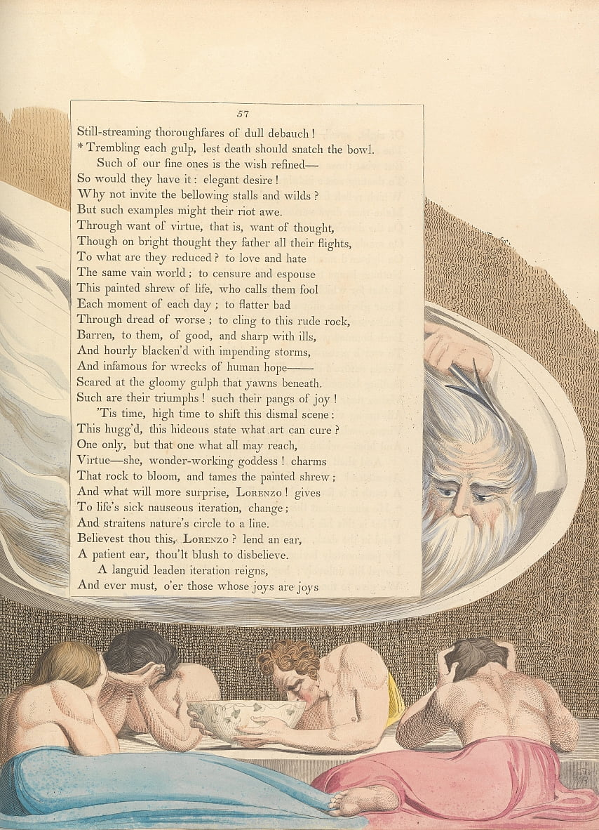 Youngs Night Thoughts, pagina 57, door William Blake