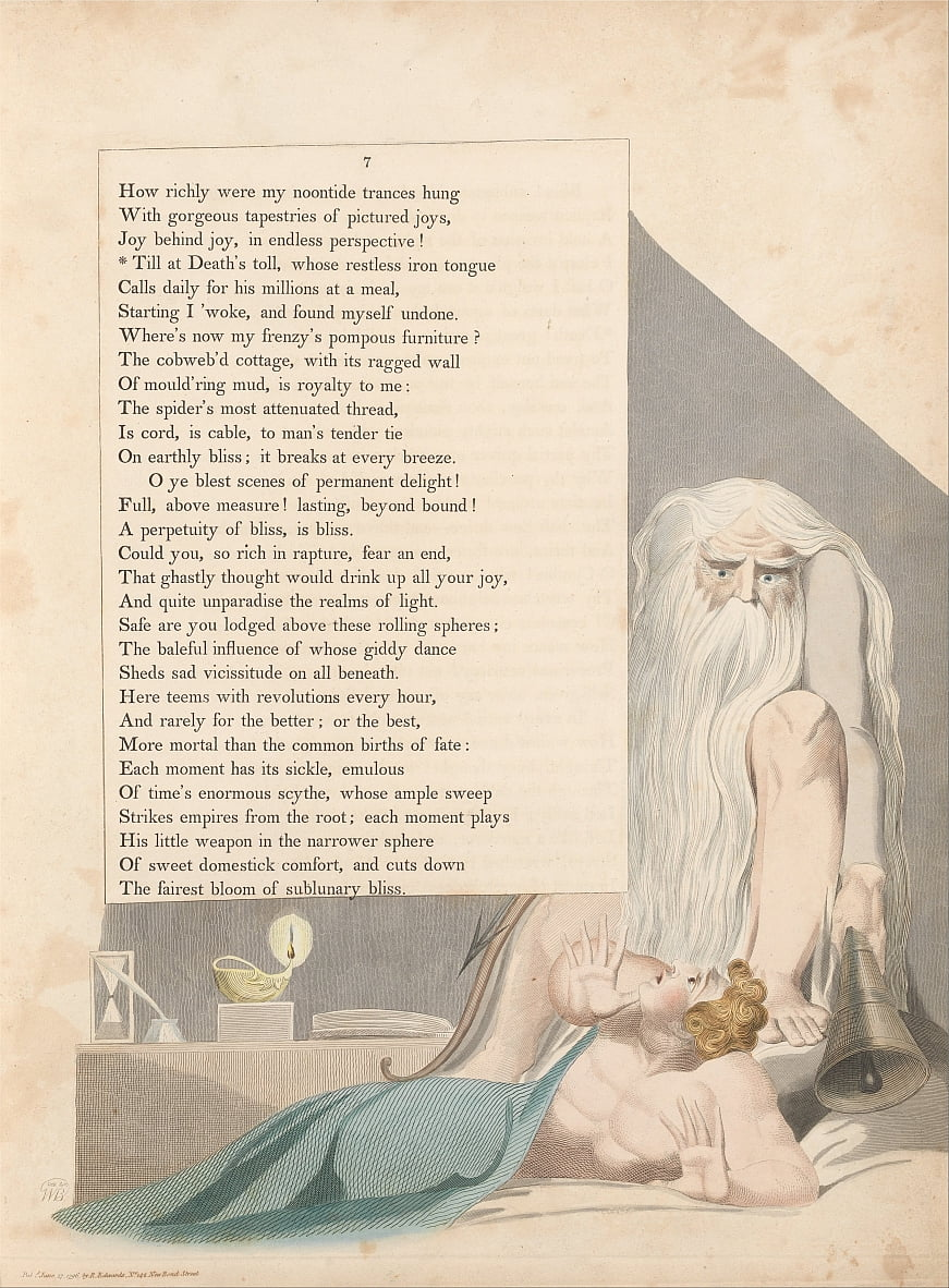 Youngs Night Thoughts, Pagina 7, Till at Deaths Toll, Whose Restless Iron Tongue door William Blake