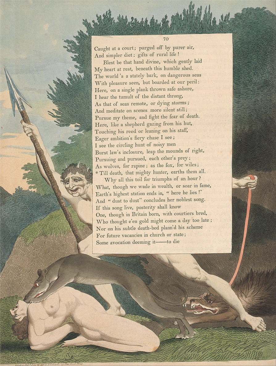Youngs Night Thoughts, pagina 70, Till Death, That Mighty Hunter, Earths Them All door William Blake