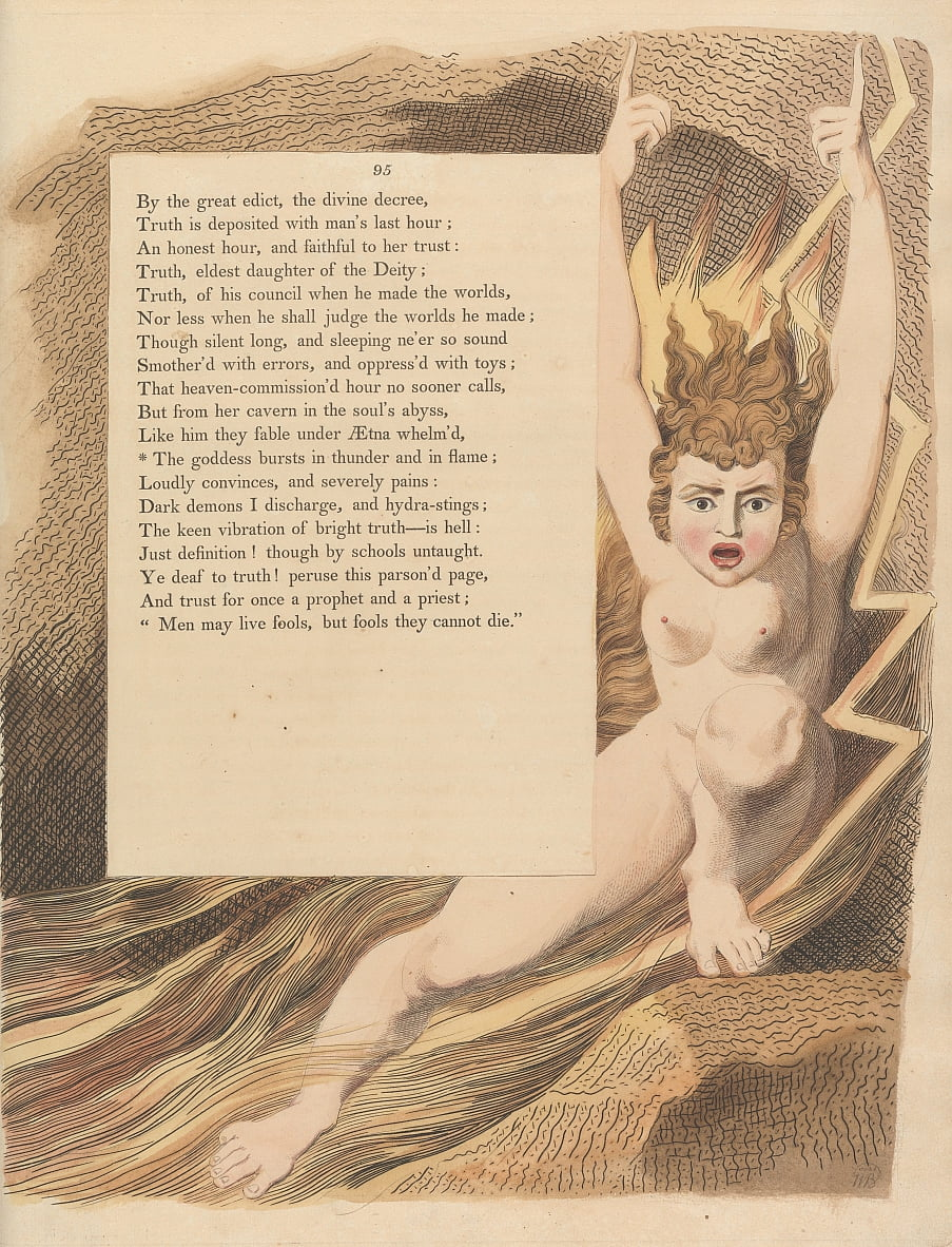 Youngs Night Thoughts, Pagina 95, De godin barst in donder en vlam door William Blake