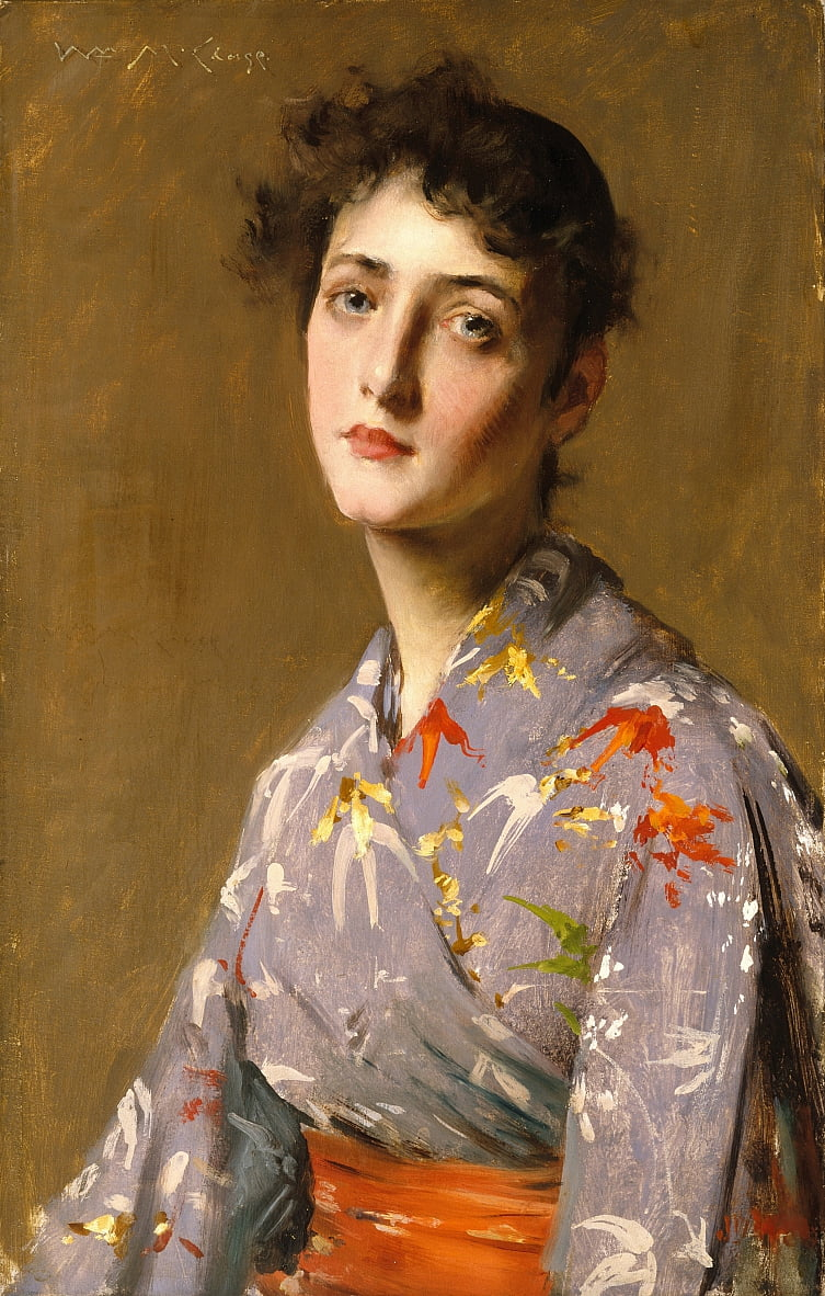 Meisje in een Japans kostuum door William Merritt Chase