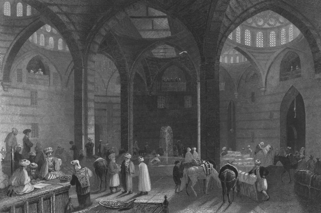 De Grote Khan in Damascus door William Henry Bartlett