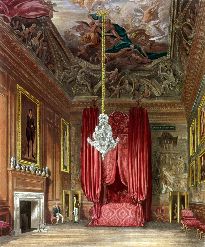 Queen Mary&39;s State Bed Chamber, Hampton Court van Pyne&39;s &39;Royal Residences&39;, 1818 door William Henry Pyne